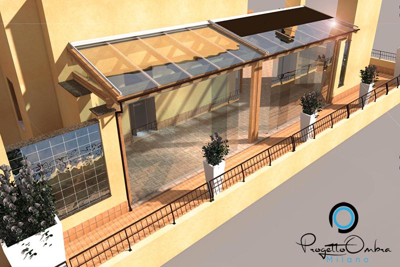 Progettazione veranda in legno terrazzo di un attico - Progettazione terrazzi milano ...
