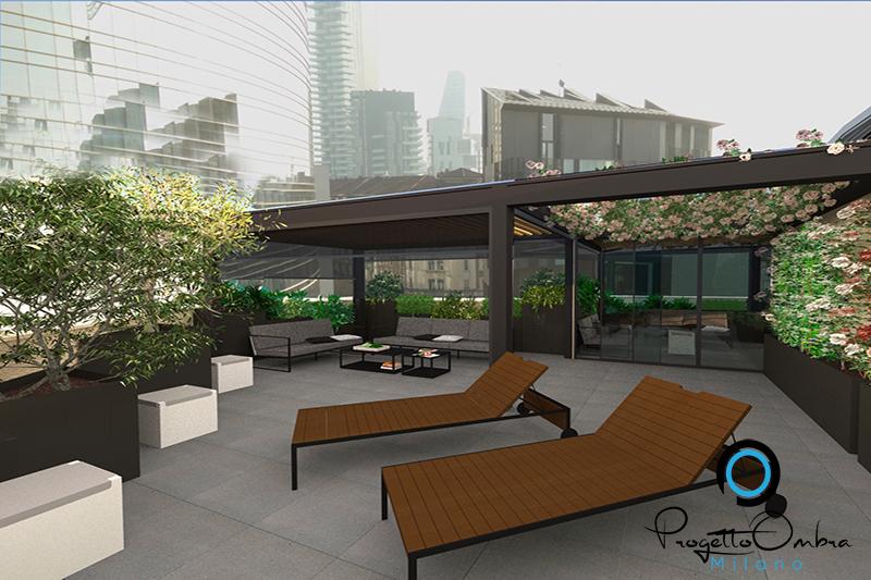 progetto di un terrazzo attico a milano