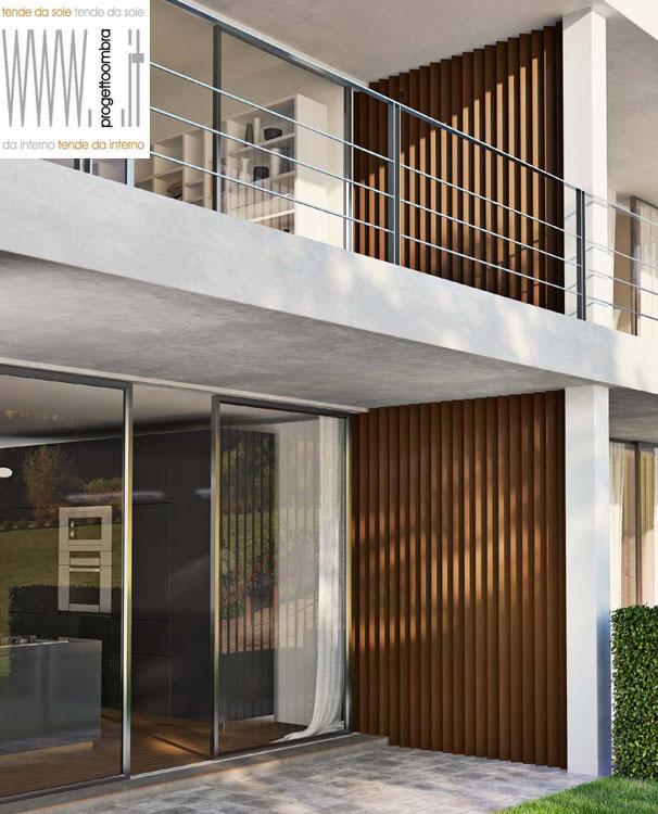 Frangisole e pareti il legno e composito di progetto ombra milano - Tende in legno per interni ...