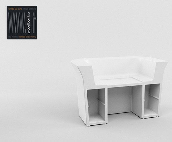 MY DESK  180 X 100 h 110 cm  Peso: 60 Kg  Colore: Bianco Light Piano e Mensole Incluse  Per informazioni chiamare 02-58315644