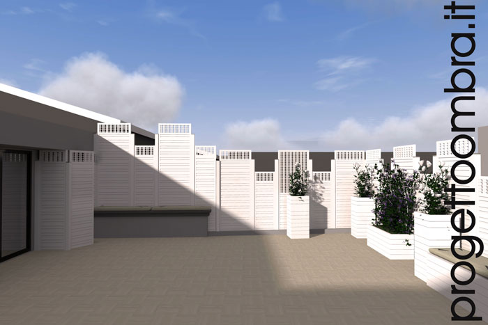 Grigliati e pergole su progetto per terrazzi for Grigliati divisori