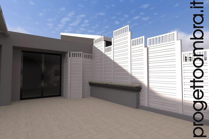 Pavimentazione due cm, grigliati e pergole su progetto per terrazzi