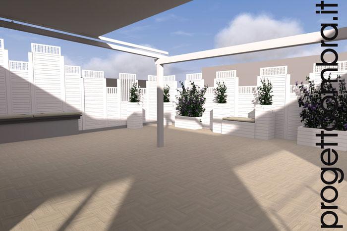 Grigliati e pergole su progetto per terrazzi for Progettazione esterni